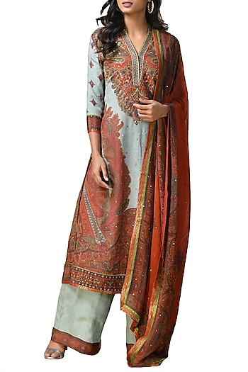Grey Embroidered Kurta Set by Ri Ritu Kumar