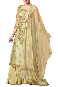 Gold & Mint Green Embroidered Kurta Set by Ri Ritu Kumar