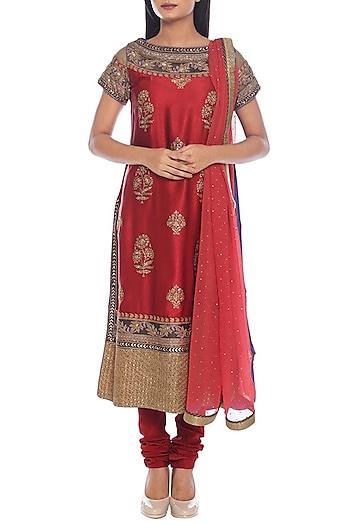Magenta & Purple Embroidered Kurta Set by Ri Ritu Kumar