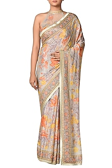 Powder Blue & Orange Printed Saree Set by Ri Ritu Kumar