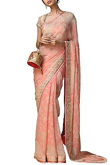 Peach & Gold Floral Saree Set by Ri Ritu Kumar-SHOP BY STYLE