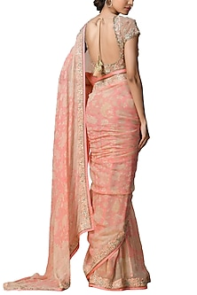Peach & Gold Floral Saree Set by Ri Ritu Kumar