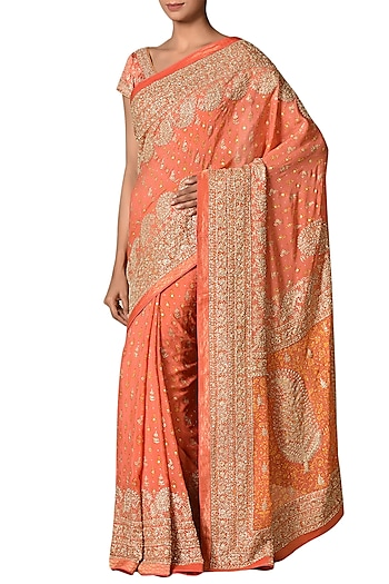 Coral Printed & Embroidered Saree Set by Ri Ritu Kumar