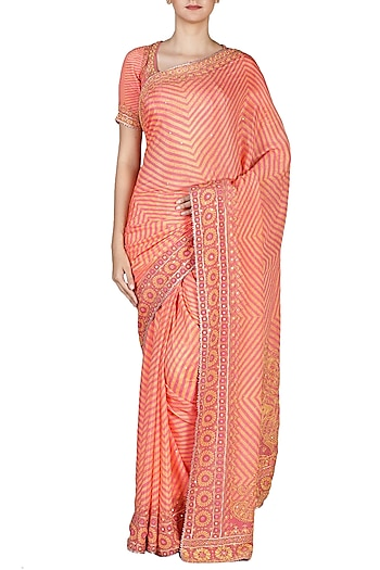 Coral & Pink Embroidered Saree Set by Ri Ritu Kumar