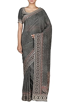 Black & Grey Embroidered Saree Set by Ri Ritu Kumar
