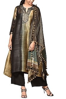 Black & Beige Woven Kurta Set by Ri Ritu Kumar