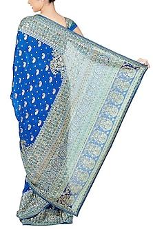 Royal Blue & Turquoise Embroidered Saree Set by Ri Ritu Kumar