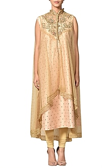 Pastel Pink Embroidered Kurta With Gold Pants & Cape by Ri Ritu Kumar