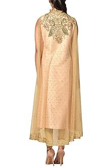 Pastel Pink Embroidered Kurta With Gold Pants & Cape by Ri Ritu Kumar