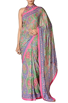 Emerald & Purple Hand Embroidered Saree Set by Ri Ritu Kumar-SHOP BY STYLE