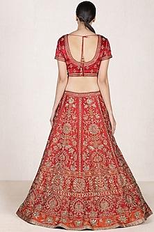 Red Embroidered Lehenga Set by Ri Ritu Kumar