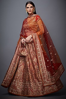 Red & Saffron Embroidered Lehenga Set by Ri Ritu Kumar