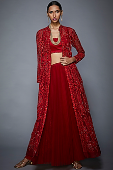 Red Embroidered Jacket With Skirt & Inner by Ri Ritu Kumar