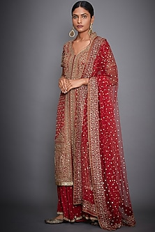 Red Embroidered Kurta Set by Ri Ritu Kumar-Shop By Style