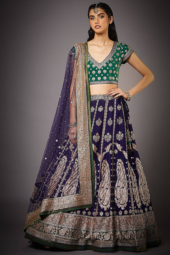 Purple & Emerald Green Lehenga Set by Ri Ritu Kumar