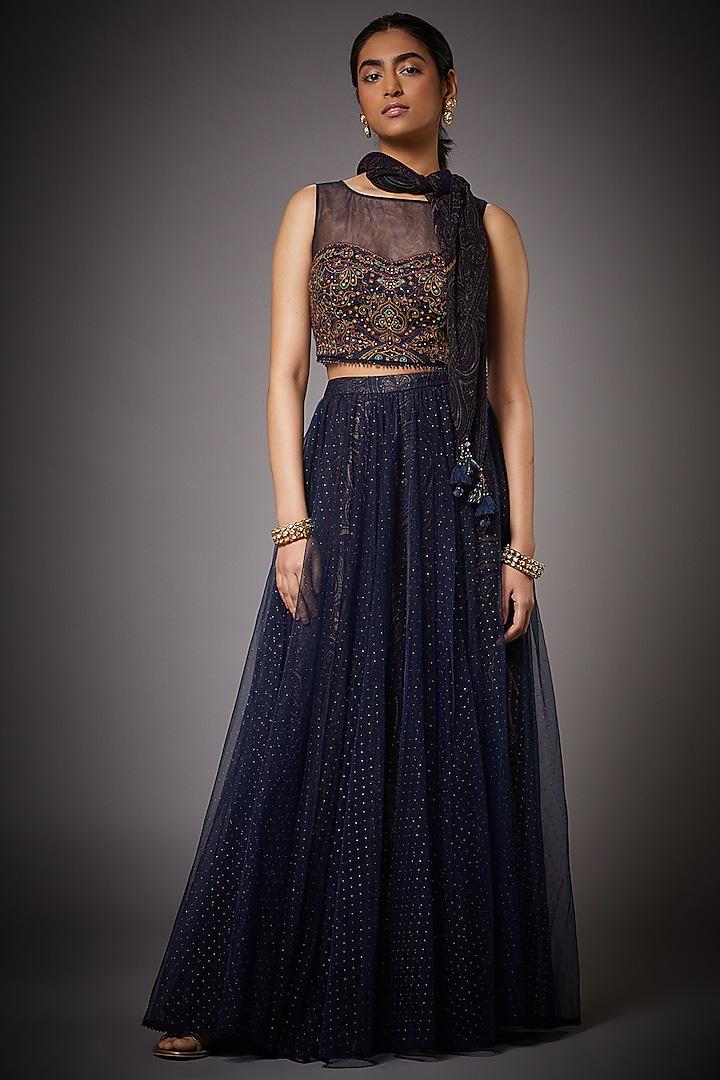 Midnight Blue & Beige Skirt Set by Ri Ritu kumar
