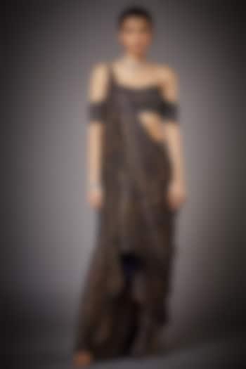 Midnight Blue & Beige Skirt Set With Draped Dupatta by Ri Ritu kumar