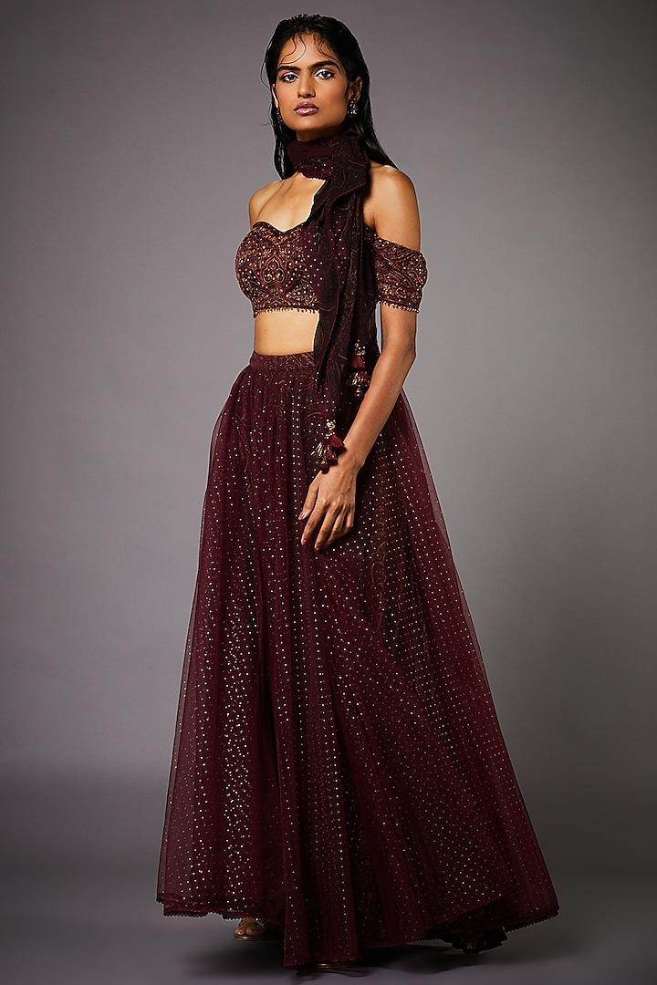 Wine Skirt Set by Ri Ritu kumar