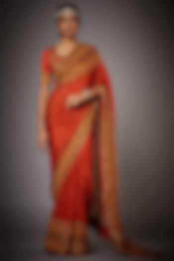 Rust Orange Floral Embroidered Saree Set by Ri Ritu kumar