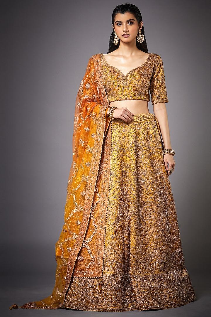Ochre Yellow & Gold Embroidered Lehenga Set by Ri Ritu kumar
