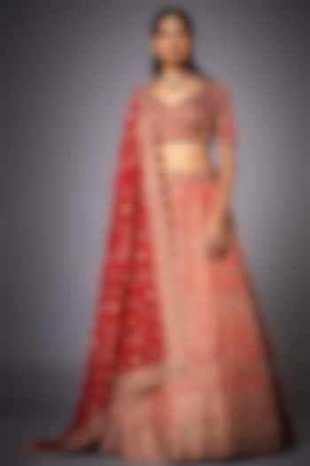 Red Zardosi Embroidered Lehenga Set by Ri Ritu kumar