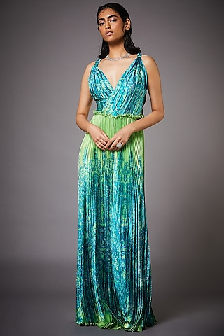 Lime Green & Turquoise Dress by Ri Ritu kumar