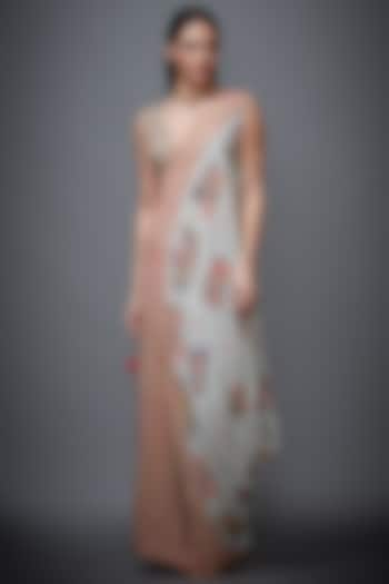 Peach Viscose Skirt Set by Ri Ritu kumar
