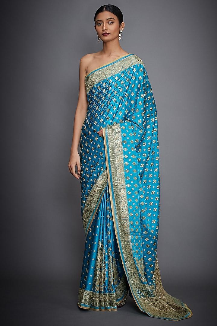 Turquoise & Gold Hand Embroidered Saree Set by Ri Ritu Kumar