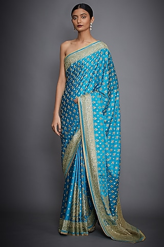 Turquoise & Gold Hand Embroidered Saree Set by Ri Ritu Kumar