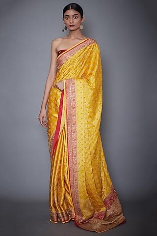 Yellow & Red Hand Embroidered Saree Set by Ri Ritu Kumar