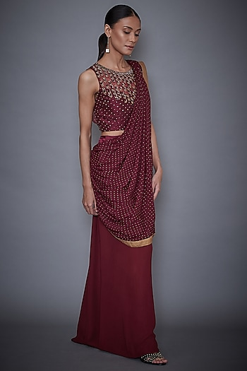 Wine Sequins Embroidered Saree Set by Ri Ritu Kumar