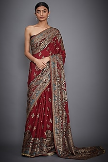 Red Floarl Embroidered Saree Set by Ri Ritu Kumar