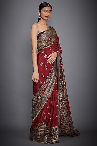 Red Floarl Embroidered Saree Set by Ri Ritu Kumar