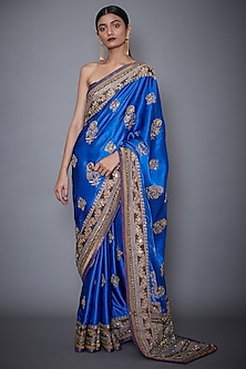 Royal Blue Embroidered Saree Set by Ri Ritu Kumar