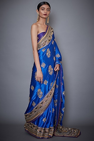 Royal Blue Embroidered Saree Set by Ri Ritu Kumar