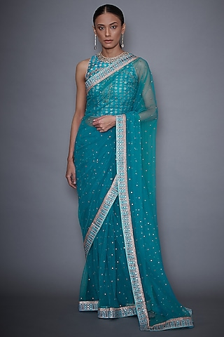 Turquoise Floral Embroidered Saree Set by Ri Ritu Kumar