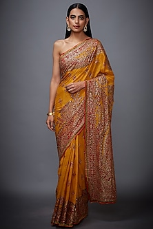 Yellow & Red Floral Embroidered Saree Set by Ri Ritu Kumar