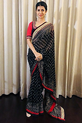 Black & Beige Embroidered Saree Set by Ri Ritu Kumar