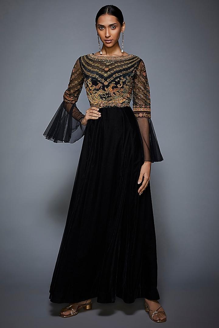 Black & Olive Green Embroidered Gown by Ri Ritu Kumar