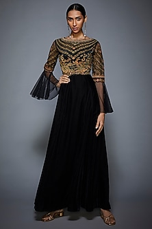 Black & Olive Green Embroidered Gown by Ri Ritu Kumar