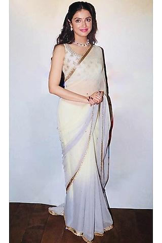 Off White & Grey Embroidered Saree Set by Ri Ritu Kumar