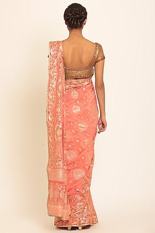Peach Embroidered Saree Set by Ri Ritu Kumar