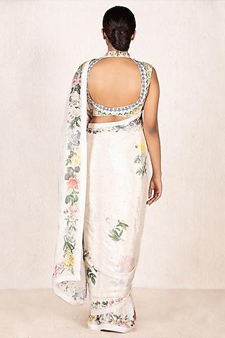 Off White Floral Embroidered Saree Set by Ri Ritu Kumar