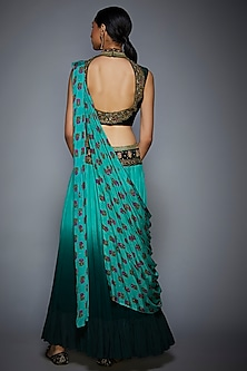 Bottle Green Floral Embroidered Saree Set by Ri Ritu Kumar
