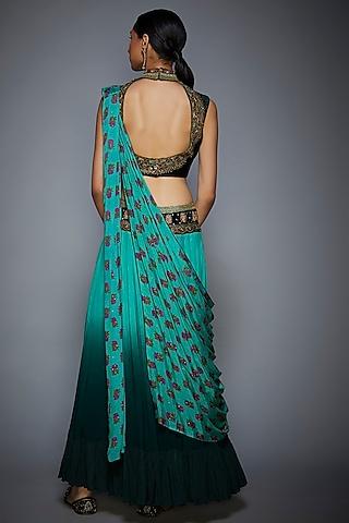 Bottle Green Floral Embroidered Saree Set by Ri Ritu Kumar