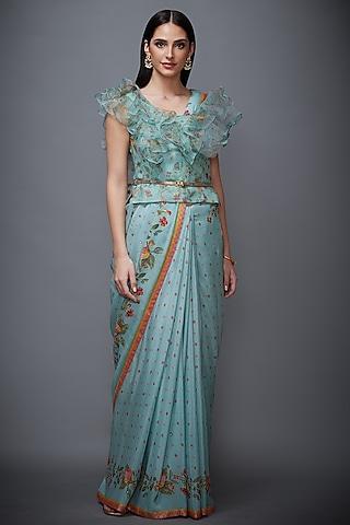 Aqua Blue & Peach Embroidered Saree Set by Ri Ritu Kumar