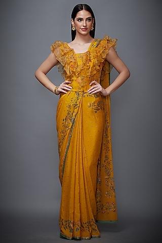 Mustard & Olive Green Embroidered Saree Set by Ri Ritu Kumar