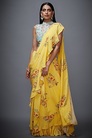 Yellow Embroidered Ruffled Saree Set by Ri Ritu Kumar