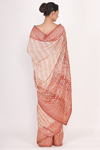 Beige & Red Embroidered Saree Set by Ri Ritu Kumar