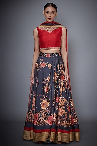 Red & BLack Embroidered Lehenga Set by Ri Ritu Kumar